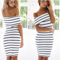 Black And White Striped Dresses Sexy Nightclub Dress Girls Party Dress Summer Women Bodycon Bandage Zebra Party Evening Dress Clubwear 2109#