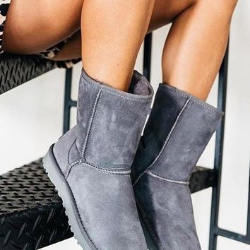 """""""UGG""""  More Color  Fashion New Male Women Men Wool Snow Keep Warm Boots Shoes Gray"""