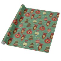 Christmas Tree Ornaments Pattern Wrapping Paper