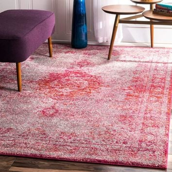 9341 Pink Medallion Distressed Oriental Area Rugs