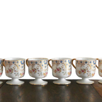 Vintage Haviland Demitasse Cups Footed Limoges Porcelian White with Floral Pattern  Gold Trim and Handle - Set of 6 - Haviland & Co.