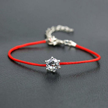 Women Silver Color Rhinestones Crystals Thread String Bracelets