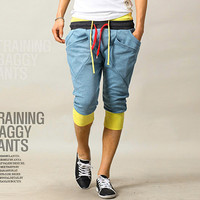 Double Color Strings Men Fashion Harem Cropped Jogger Shorts