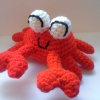 Crocheted Amigurumi Crab  Stuffed Animal Red by HookAndStitches