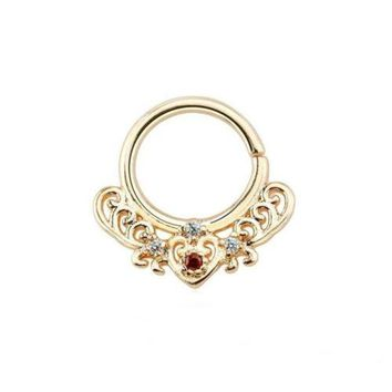 "Septum Nose Rose Gold Plate Fancy w/Clear/Red Gems Annealed 16 Gauge 3/8"" Brass"