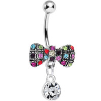 Crystalline Round Drop and Multi Gem Clown Tie Dangle Belly Ring