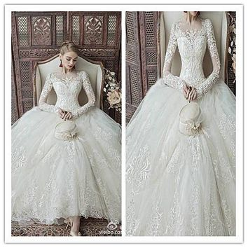 Vestidos De Novia RealBall Gown Wedding Dresses O Neck Long Sleeve Zip Back Lace Applique Beads Elegant Bridal Gown Floor-Length