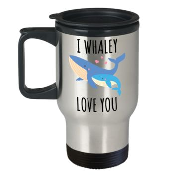 Whale Gifts for Women Men Mug I Whaley Love You Stainless Steel Insulated Travel Coffee Cup
