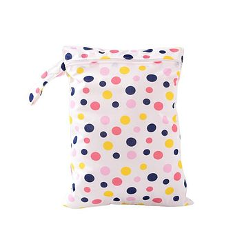 Organizers / Bags - Free Shipping - Waterproof / Reusable / Washable Tote Bag - Pink / Blue / Yellow dots