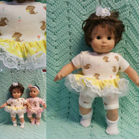 "Baby Doll Clothes ""Monkeys n Daisies"" (15 inch) doll outfit Will fit Bitty Baby® Bitty Twins®  dress, pants, socks, headband twins option M8"