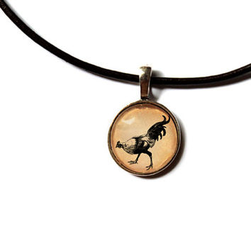 Farm bird jewelry Chicken pendant Rooster necklace Vintage art style n280