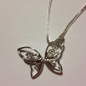 ON SALE Diamond Butterfly Necklace Pendant Sterling Silver 925 Vintage Jewelry Bridal Birthday Anniversary Gift Nature Insect Butterflies Di