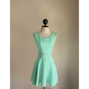 Greek Goddess Mint Seafoam Green Breakfast at Tiffanys Blue Lace Jane Austen Skater Rockabilly Romantic 1960s Dress Bridesmaids Prom Gown