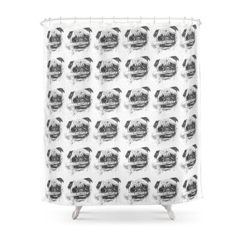 Society6 It's A Pug Life Shower Curtain