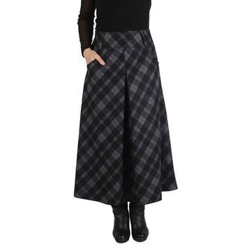 Winter wool plaid maxi skirt,vintage fashion casual pleated,faldas largas women lady autumn girls skirts,new style wool TT1475