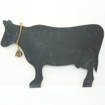 Vintage cow chalkboard with brass bell - Kitchen wall memo board - Rustic chalkboard sign