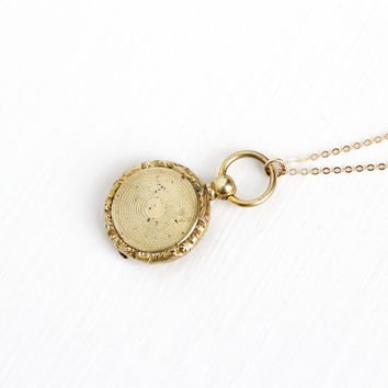 Antique Victorian Gold Filled Hair Locket Fob - Vintage Late 1800s Necklace Rare Hair Mourning Sentimental Charm Jewelry
