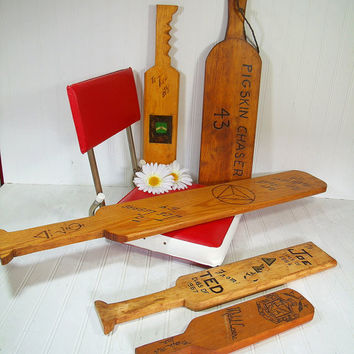 Collection of Vintage Fraternity Hazing Paddles - 5 Handmade Wooden University Clubs Souvenir College Memorabilia Frat Sorority Initiation