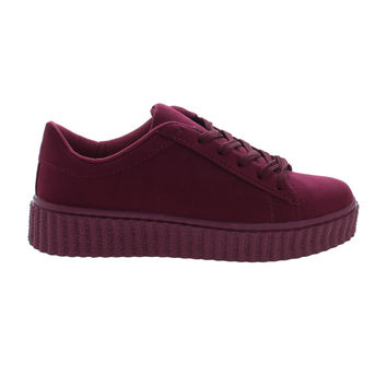 Caleb02 Burgundy by Wild Diva, Burgundy Suede Lace Up Sneaker w Rubber Texture Ridges Thick Platform Sole