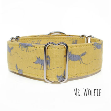 "Wolf Martingale Dog Collar, Made in Canada, 2 inch wide custom adjustable collar, 1"" yellow cute dog collar, greyhound, whippet, great dane"
