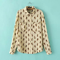 Beige Fox Print Collar Button Pocket Shirt