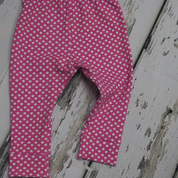 Baby leggings, pink and white polka dot leggings for girls, available for babies toddlers and children