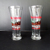 Barware Budweiser Beer Pilsner Glasses Clydesdales Set of 2