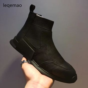 New Fashion Luxury Men Basic Black Winter Warm Sneakers High-Top Nuduck Genuine Leather Brand Trainers Flats Casual Shoes 38-44