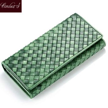 new elegant handmade knitting wallets women's sheep leather ladies clutch design