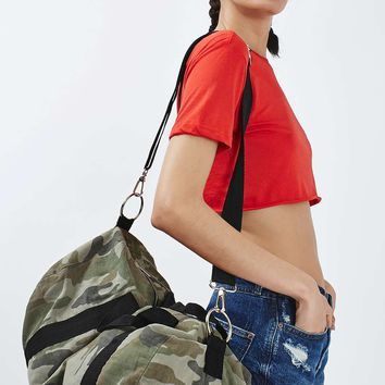 Camo Print Barrel Luggage Bag - Topshop