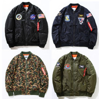 Men's NASA Rocket Embroidery The Union Flag Outerwear Army Military Camouflage Windbreaker Jacket