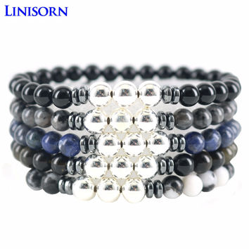 LINISORN 925 Sterling Silver Beads 6 mm Natural Stones Strand Bracelets Men Obsidian Moonstone Women Beaded Bracelets & Bangles