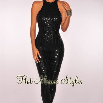 Black Sequins Open Back Jumpsuit