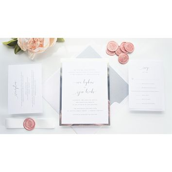 Blush Pink Vellum and Wax Seal Wedding Invitation - SAMPLE SET