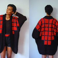 Vtg Mohair Leather Trim Red & Black Oversize Open Sweater