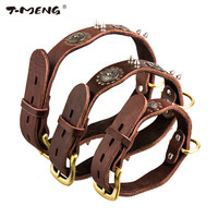 T-MENG Brand Genuine Leather Dog Collars Rivet Studded 3 Sizes High Quality Necklace Wavy Personalized Dogs Accessories Supplier