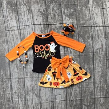 Fall/winter baby girls Halloween BOO tiful outifits ghost children clothes sets orange top with skirts with matching accessories