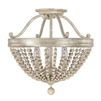 Capital Lighting Fixture Company 4444SQ Adele Silver Quartz Three-Light Semi-Flush with Wood Bead