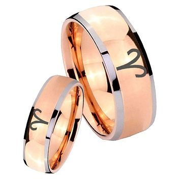 His Hers Rose Gold Dome Aries Zodiac Two Tone Tungsten Wedding Rings Set