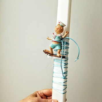 Sailor Easter candle, white boys candle with boy sailor/surfer, baby boy in sailor costume and surfboard, surfer Greek Easter candle