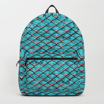 Teal blue and coral pink arapaima mermaid scales Backpack by savousepate
