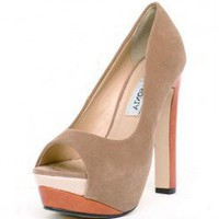 BEIGE COLORBLOCK NUBUCK TRENDY PLATFORM @ KiwiLook fashion