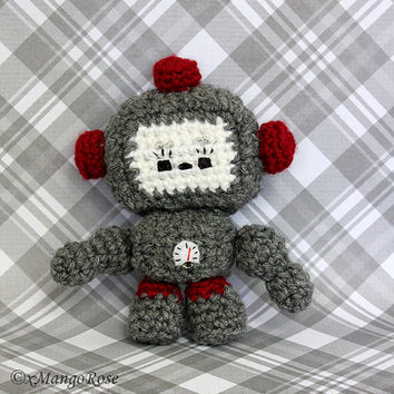Amigurumi Crochet Robot Plush Toy (Grey and Red)