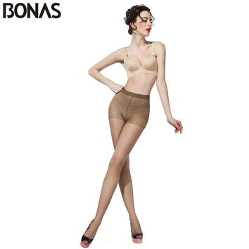 BONAS 15D Nylon Pantyhose For Girls Summer Style Casual Black Slim Tights Lolita Elasticity Spandex Transparent Long