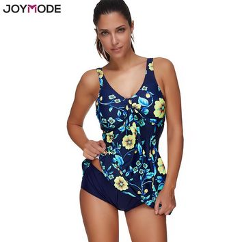 Two-Piece Blue Yellow Floral Swimdress Modest Swimsuit Bathing Suit