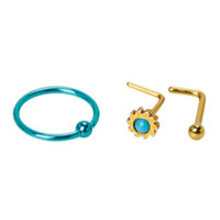 20G Steel Gold & Turquoise Stone Hoop & L-Shape Nose Bone 3 Pack