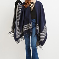Houndstooth-Patterned Shawl Poncho