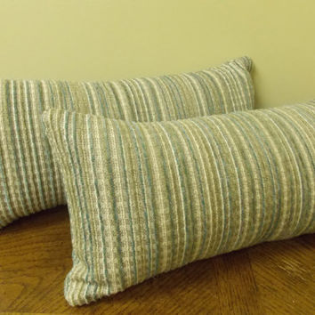 In/Outdoor SUNBRELLA Lumbar Accent Throw Pillow 7x16 - Neutral Stripes - Beige Tan White Teal Olive