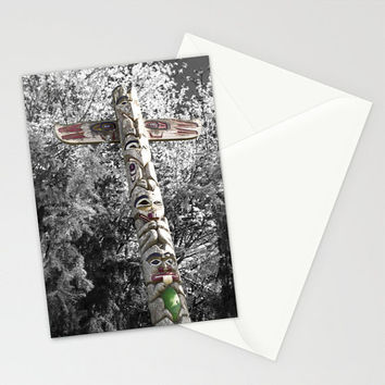 Greeting card, Totem Pole, blank card, men, teen, boy, envelope, 5 x 7, stationery, northwest, Oregon, Indian, tribal, animal, birthday