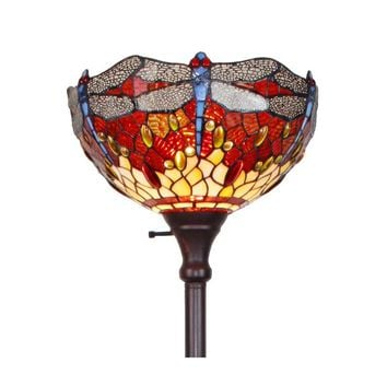 Amora Lighting AM040FL14 Tiffany Style Dragonfly Torchiere Floor Lamp 72""